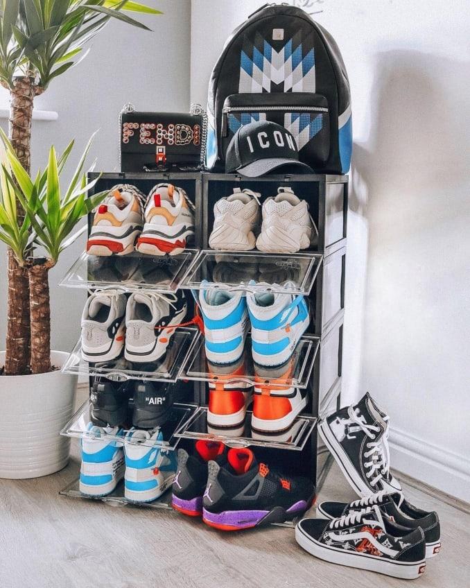 Estantería de zapatillas formada por las cajas de Crep Protect