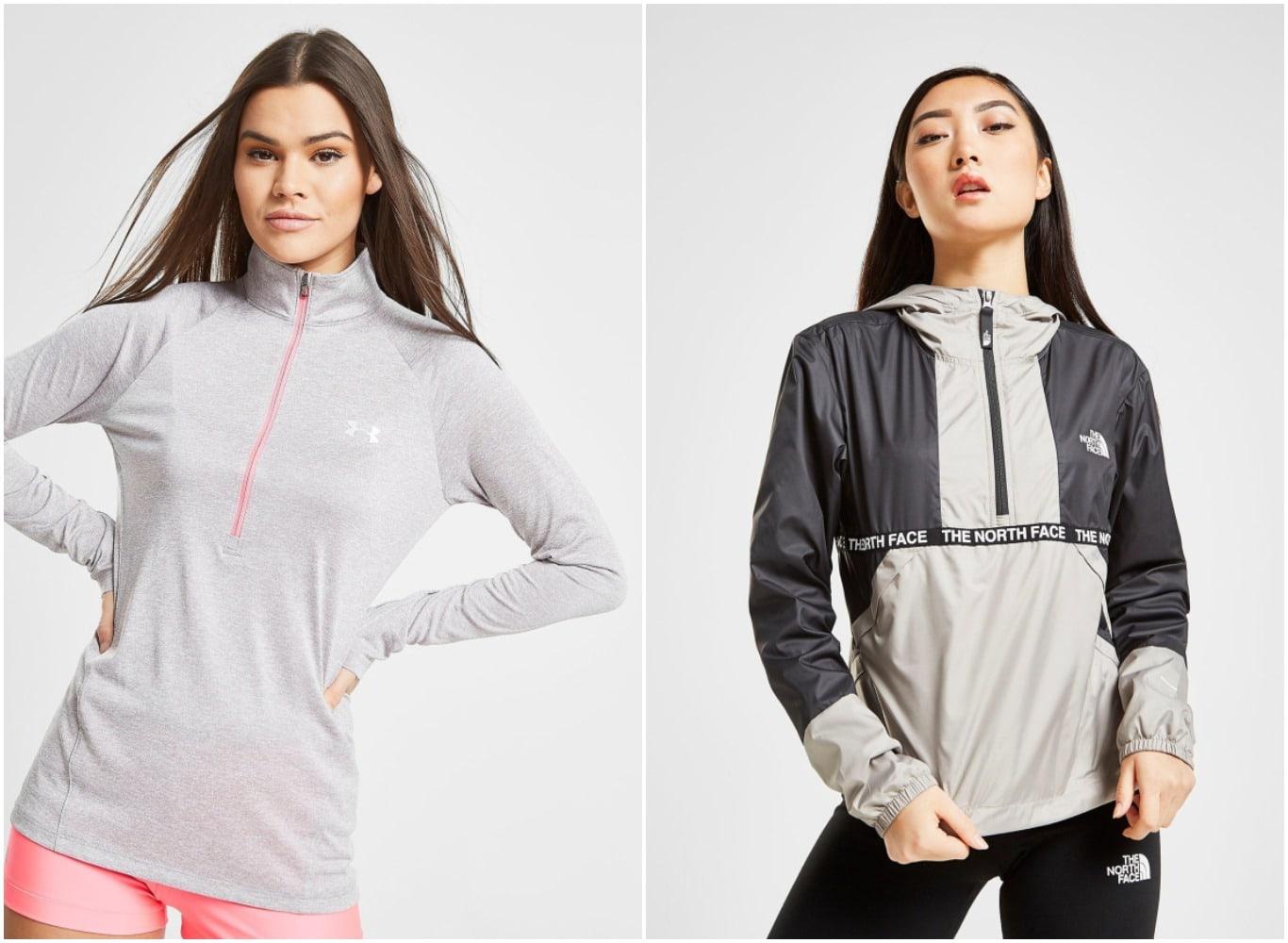 Camiseta técnica de Under Armour y chaqueta de The North Face para mujer