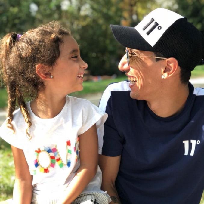 Ángel Di María junto a su hija