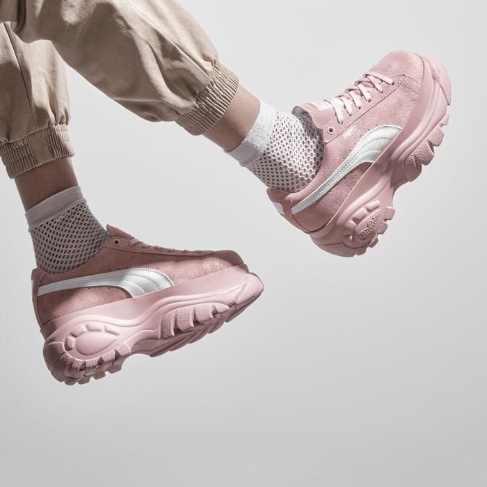 Buffalo suede zapatillas rosa mujer