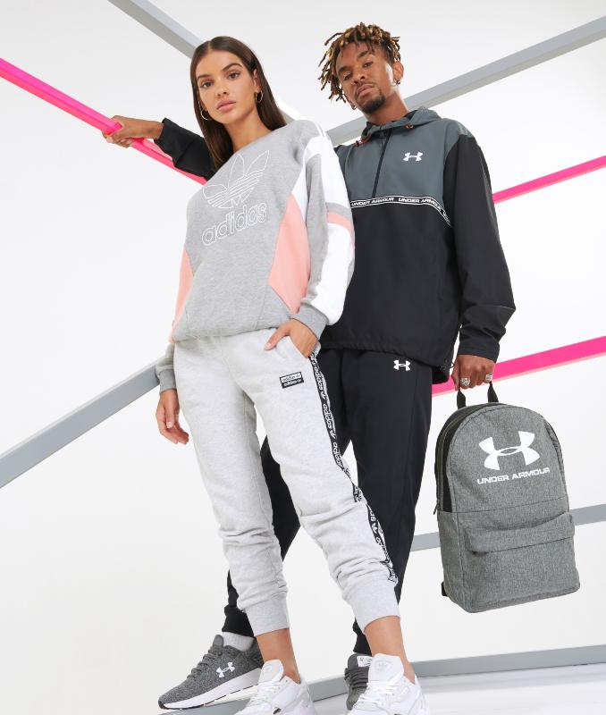 Back To School outfits adidas y Under Armour para hombre y mujer con mochila