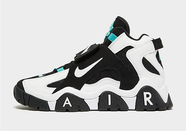 Zapatillas Nike Air Barrage Mid en blanco, negro y turquesa