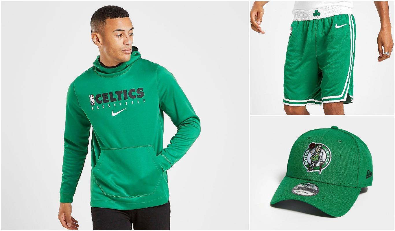 Colección streetwear de Boston Celtics con sudadera, pantalón corto y gorra