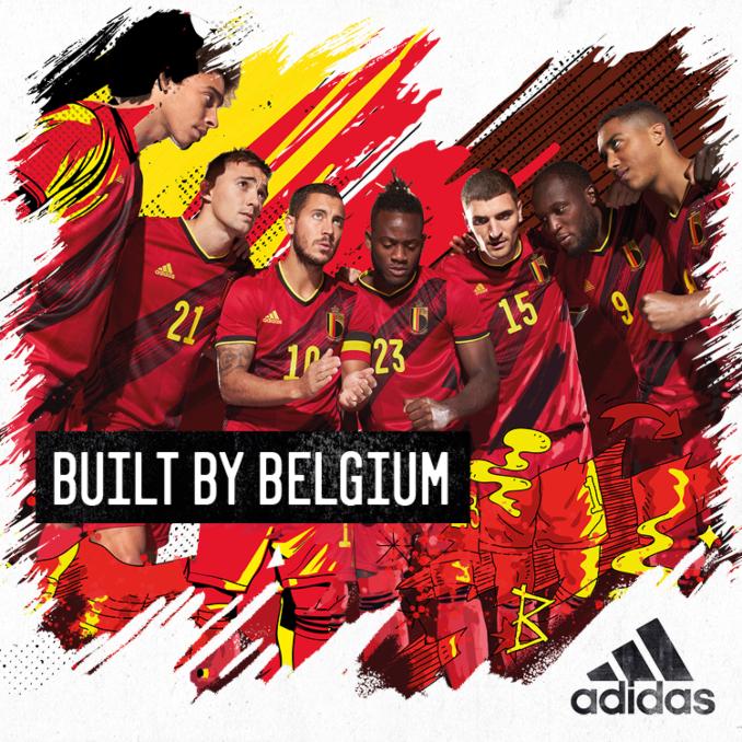 Selección de fútbol de Bélgica con la equipación de la Eurocopa 2020