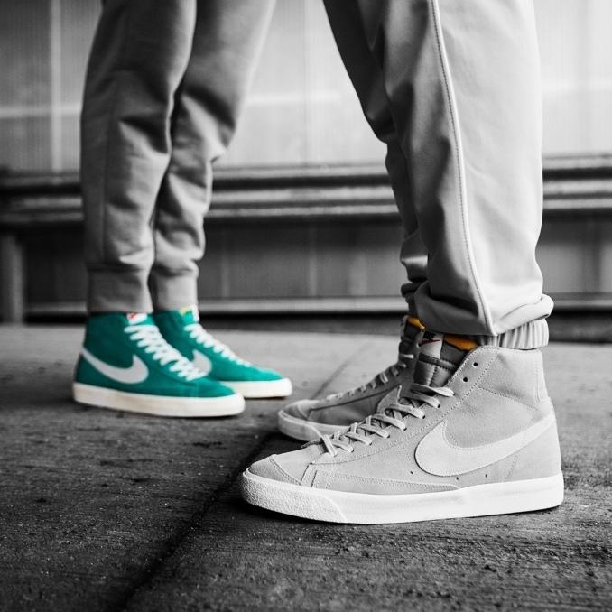 Две модели Nike Blazer в бирюзово-зеленом и сером цветах