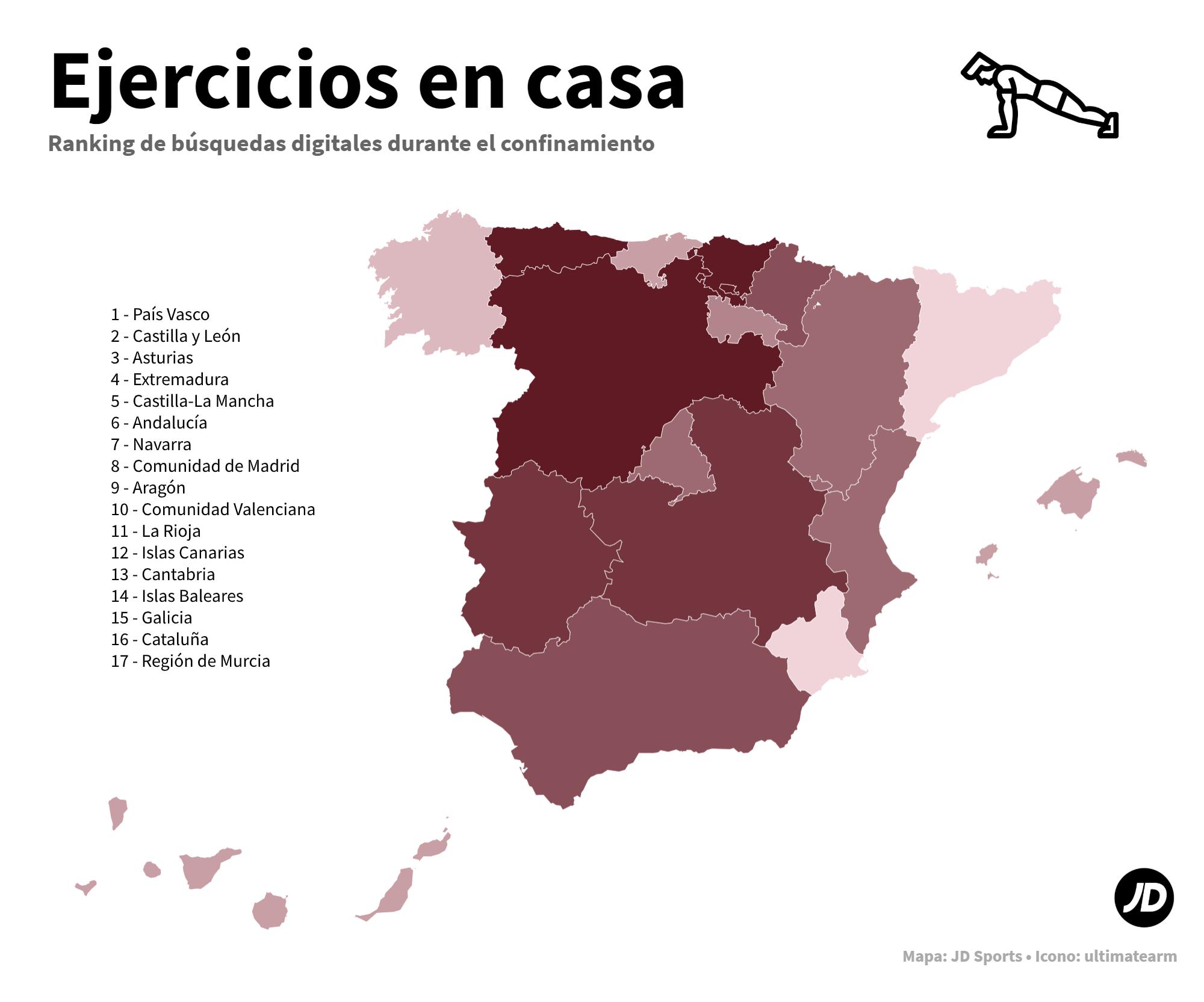 Mapa de España con las comunidades autónomas más interesadas en hacer ejercicio en casa durante el confinamiento