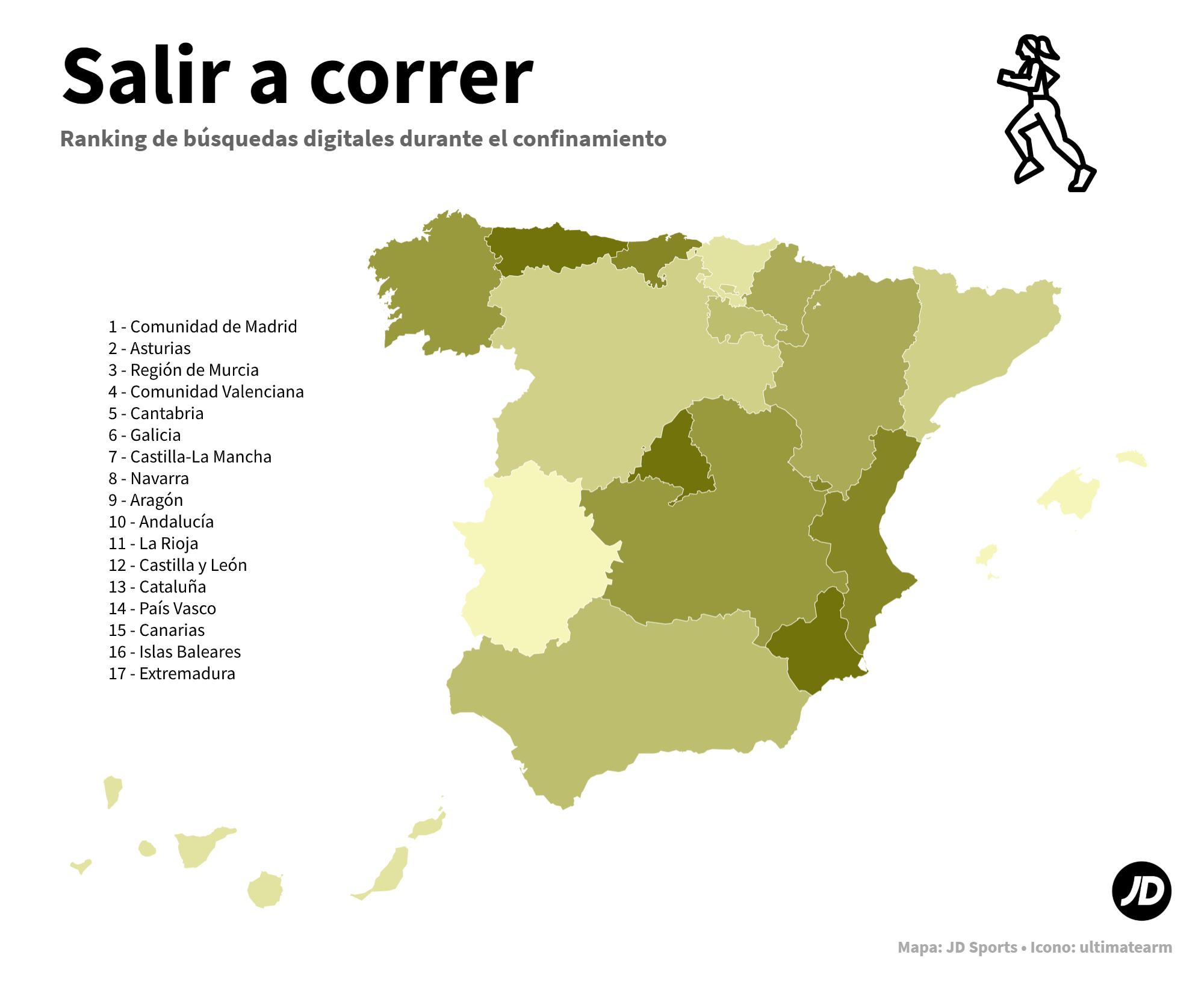 Mapa de España con las comunidades autónomas más interesadas en salir a correr durante el confinamiento