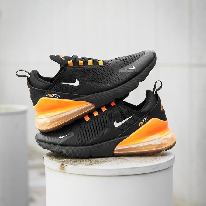Nike Air Max 270 preto e laranja